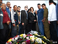 Residents of Sderot at the funeral of the 47-year-old man killed on 27 February 2008