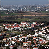 A view of Sderot and the Gaza Strip in the background