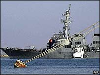The USS Cole, seen here just after being attacked in Aden in October 2000