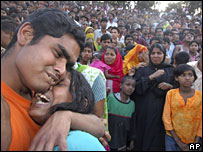 Grieving relatives of victims of the ferry accident in Bangladesh