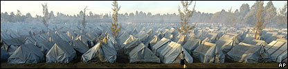 Tents in a displacement camp near Eldoret, Kenya