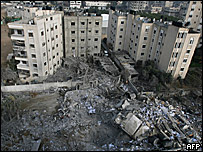 Bombed building in Gaza