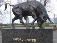 The ox statue outside the Oxford's Kassam Stadium