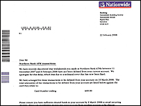 A letter customers received from Nationwide