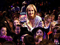 JK Rowling at the launch of Harry Potter and the Deathly Hallows at The Natural History Museum in July