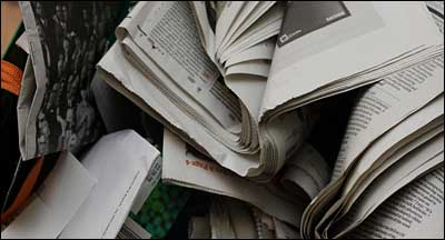 Pile of newspapers, BBC
