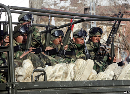 Elite Turkish troops on military vehicles