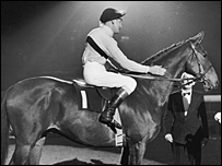 Champion race horse Arkle and jockey Pat Taaffe