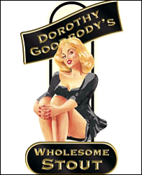 The risque logo for Dorothy Goodbody's Wholesome Stout - (c) Wye Valley Brewery