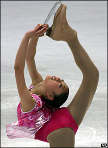 American skater Mirai Nagasu performs on the ice, 29 February 2008