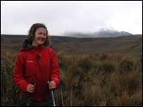 Julie trekking in the Andes