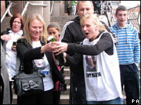 Brent Martin's family outside court