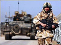A British soldier patrolling near Basra