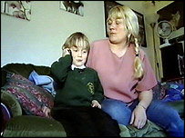 Five-year-old Damien Smith with his mother, Michelle