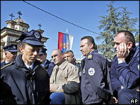 Kosovo Serb police protest in Gracanica on 29 February