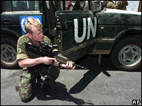 British soldier as part of UN peacekeeping force in East Timor in 1999