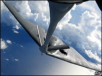 A US KC-135 tanker refuels a B-2 bomber over the Pacific near Hawaii, October 2007