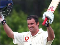 Andrew Strauss celebrates his century