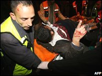 Wounded Palestinian at hospital in Beit Lahiya