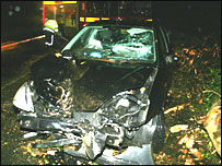 Humberside Fire and Rescue picture of crushed car