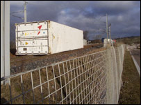 Freight container on the line in Cumbria