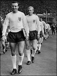 Armfield leads out England at Wembley for a game against a Rest of the World team in January 1963