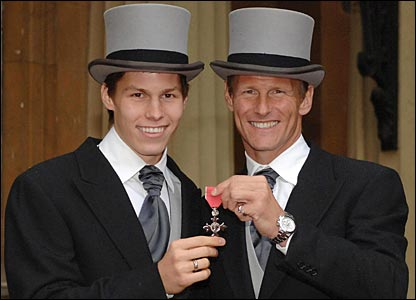 Sheringham and son Charlie at Buckingham Palace