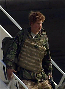 Prince Harry leaving the plane