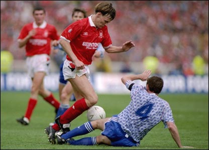 Nottingham Forest's Teddy Sheringham is tackled by Steve Bruce of Manchester United during the 1992 League Cup Final at Wembley