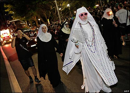 Participants in Sydney's gay and lesbian Mardi Gras parade dressed as nuns