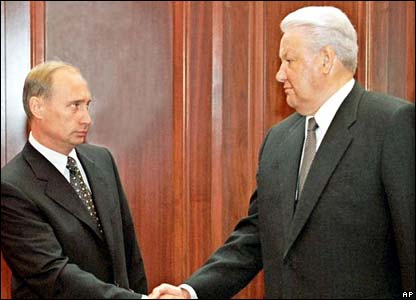 Acting PM Vladimir Putin with Boris Yeltsin in August 1999