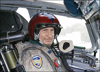 Putin on a training mission in a supersonic strategic bomber in August 2005