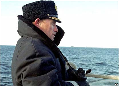 Putin on submarine in Barents Sea in April 2000