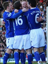 Mikael Forssell is congratulated after his first goal for Birmingham