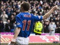 Charlie Adam celebrates giving Rangers the lead