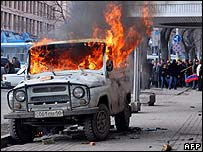 A car burns in central Yerevan on 1 March