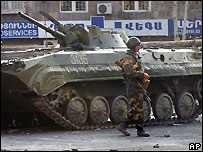 Armenian soldier and armoured vehicle in central Yerevan - 02 March 2008