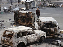 Burnt cars in central Yerevan - 2 March 2008