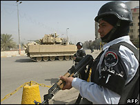 Iraqi police at Baghdad checkpoint - 2 March 2008