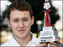 Celtic's Aiden McGeady shows off his latest award