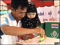A Thai man votes in Narathiwat province in the south on Sunday