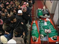 Palestinians at funeral of five people killed in Jabaliya