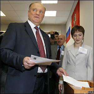 Gennady Zyuganov, Communist Party leader, votes in Moscow