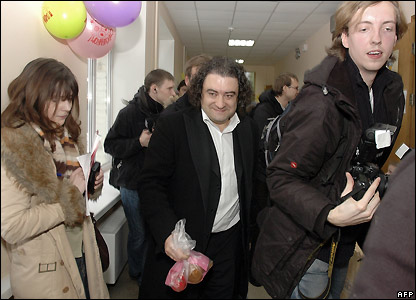 Andrei Bogdanov, Democratic Party candidate, leaves a Moscow polling station