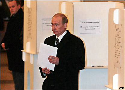 Vladimir Putin at the polling booth in Moscow