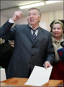 Nationalist Liberal Democrat candidate Vladimir Zhirinovsky votes in Moscow