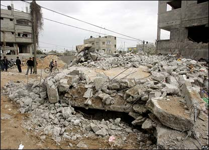 Rubble of Atallah family's house in Gaza City - 2 March