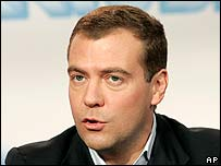 Dmitry Medvedev speaks to the media on election night