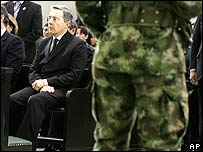 Alvaro Uribe attends the funeral in Bogota on 2 March of a soldier killed during the operation in Ecuador