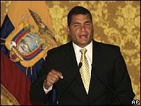 Rafael Correa durante su discurso en Quito el 2 de marzo